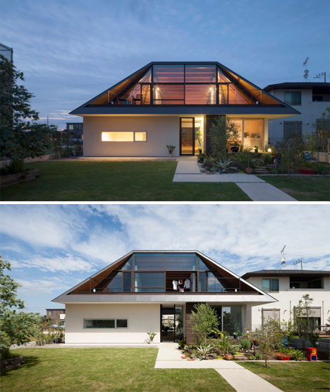 Home Design Ideas Build: Glass-Sided Hipped Roof Mimics Lost Mountain In Japan