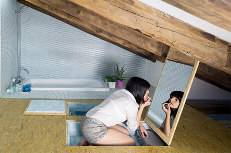 This Apartment Uses Its Small Space To Its Advantage More Than Almost Any  Other. The Pop Up Dressing Table And In Floor Storage Space Next To The  Bathtub ...