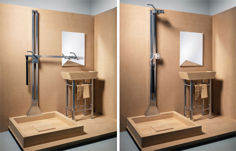 Swiveling Arm Acts as Water Supply for Shower and Sink