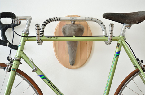 wall mounted upcycled bike part storage