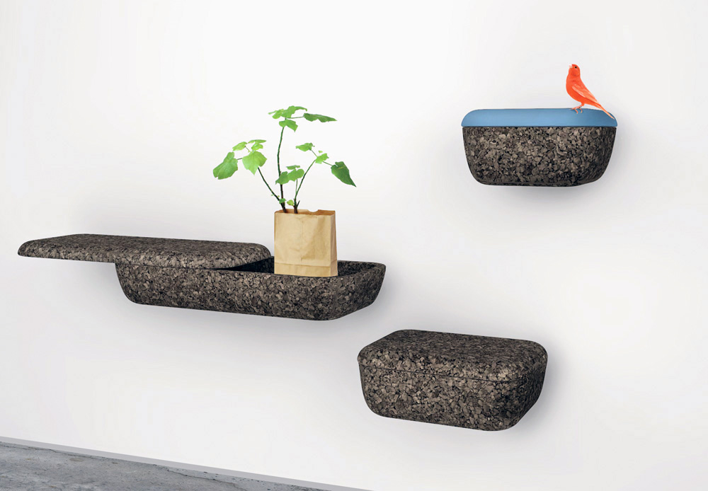 Floating Wall Shelves Look Like Stone