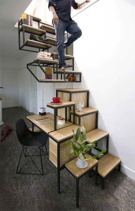 Suspended Staircase Makes Steepness Chic & Comfortable