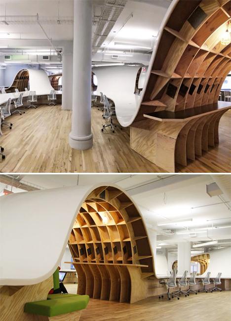 Undulating Wave Like Desk Weaves Through Modern Office