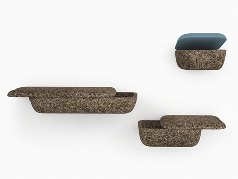 Lightweight Floating Wall Storage Shelves Look Like Stone