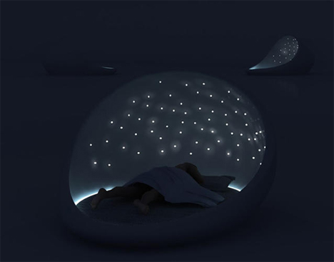 cosmos bed relaxing LEDs