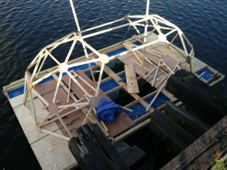 eco-friendly geodesic houseboat