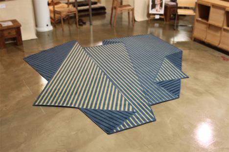 rug illusion optical folded rugs paper sheet carpet shape resembles origami straightener obsessive floor irregular tones enoch floors area liew