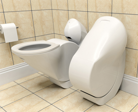 Space-Age Folding Toilet Cuts Down on Space + Water Use