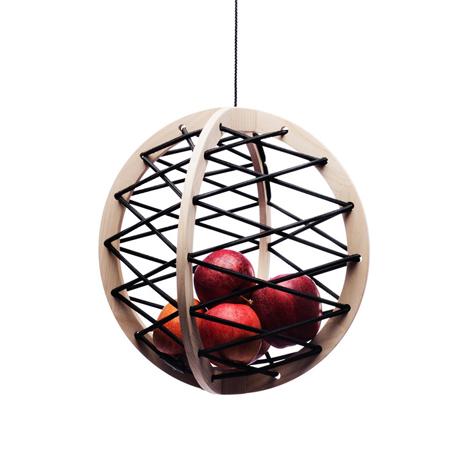 fruit bowl suspended wood frame elastic bands