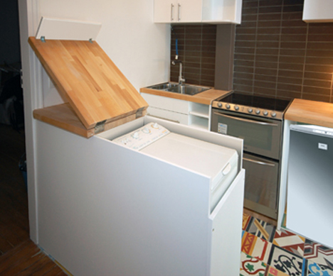 Clever Kitchen Cabinet Hides Full Size Washing Machine