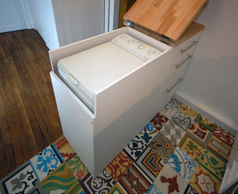 Clever Kitchen Cabinet Hides Full-Size Washing Machine