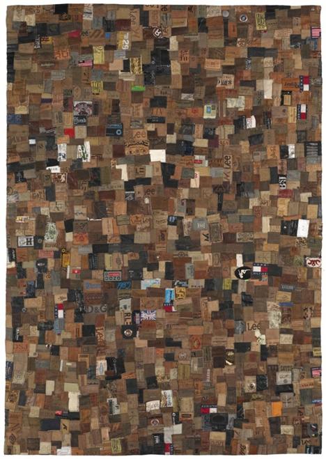 patchwork jeans labels rug