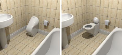 space saving folding toilet