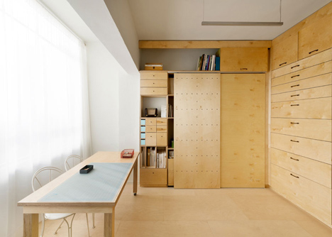 studio with built in storage