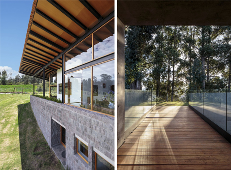 walkway and glass walls