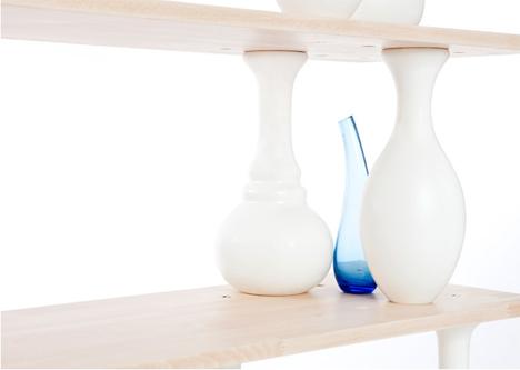 wooden vases shelves