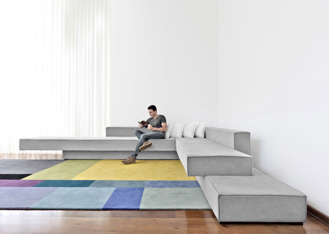 Cantilevered Concrete Slab Sofas: Living Room Architecture
