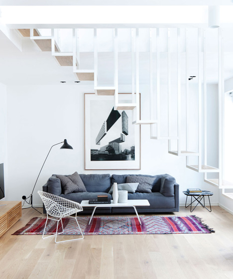 floating staircase oslo apartment