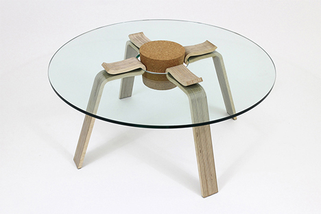 glass and wood cork table