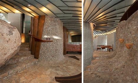 stone curved hallway