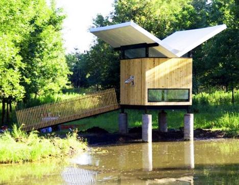 victor meditation hut and tea room on lake