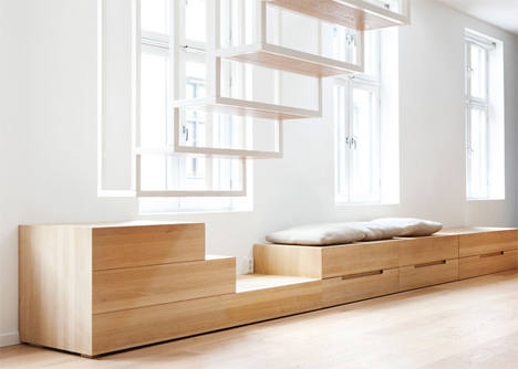 window seat storage staircase end