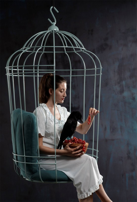The Pillow Filled Hanging Chair Looks Just Like A Human Sized Birdcage With  A Large Opening In The Front. It Hangs From A Chain, Allowing It To Sway  Like A ...
