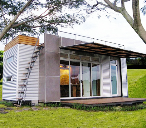 Tiny Glass Walled Container Home Features Rooftop Deck Designs Ideas On Dornob
