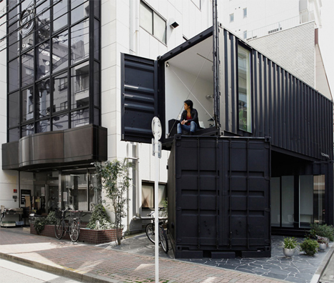 Tokyo Stack: Two Shipping Containers Create Corner Office ...