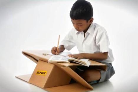 cardboard desk backpack
