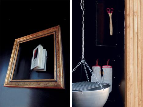 framed book and fire cauldron