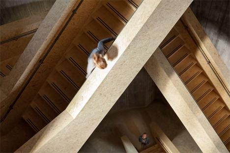 interior wooden stairs landmark water tower