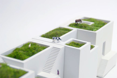 miniature village white stone house planters