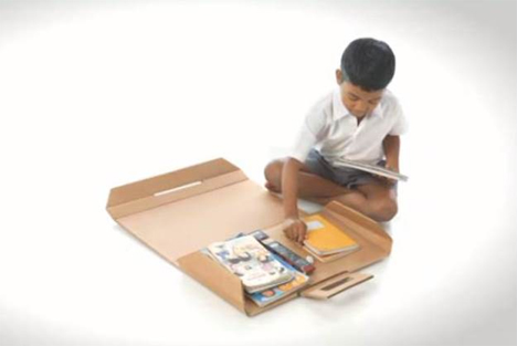 recycled cardboard desk backpack