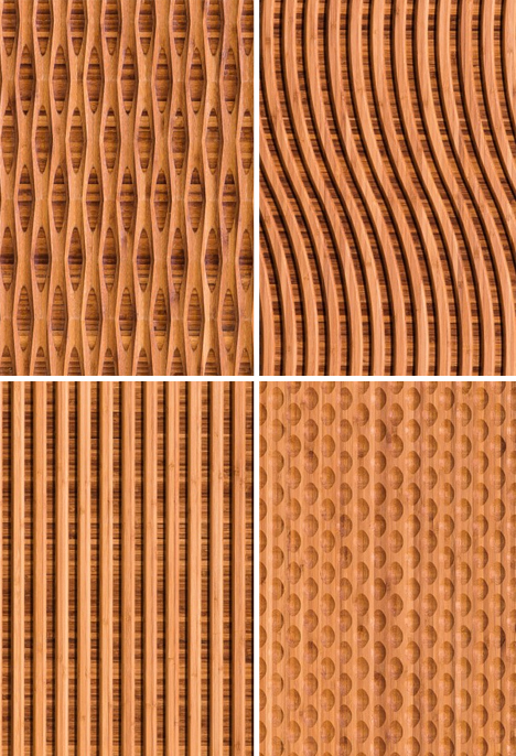 Patterned Panels Carved Natural Bamboo Wall Coverings