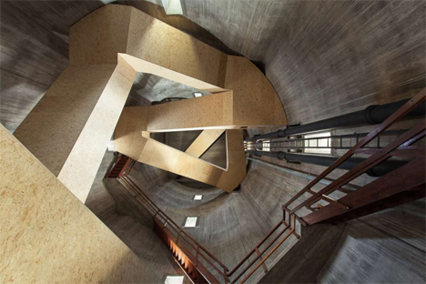 winding wooden stairs inside water tower