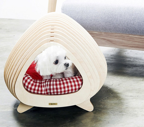Fluffy and the Whale: Minimalist Fishbone House for Pets on designs for outdoor cat enclosures, designs for chicken coops, designs for dog runs,