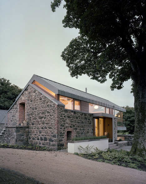 brick steel and glass old barn transformation
