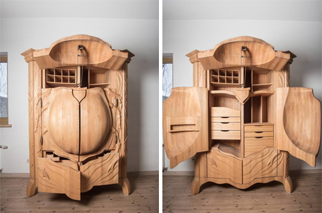 carved wood bug armoire