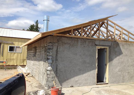 concrete and timber roof