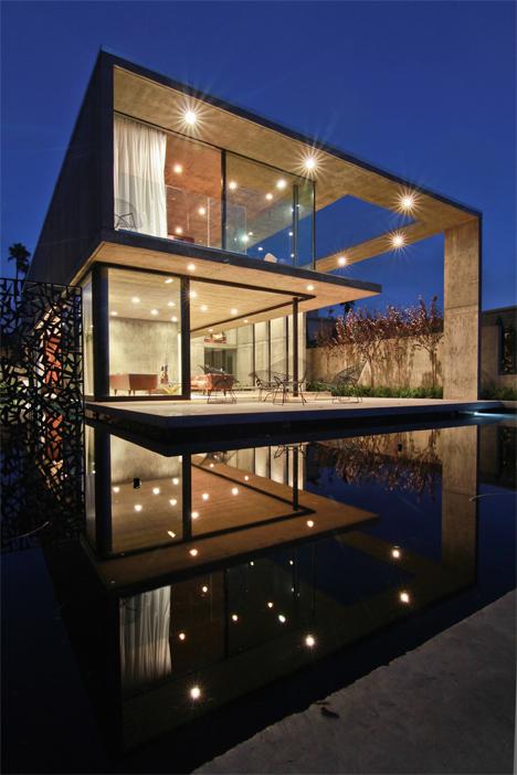 cresta house lighted at night