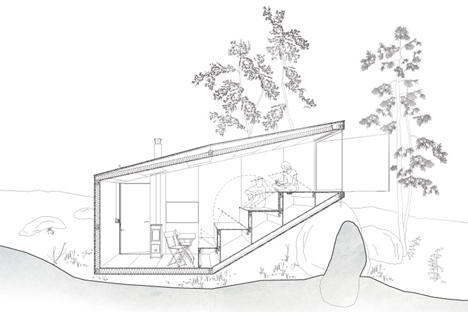 cross section forest retreat