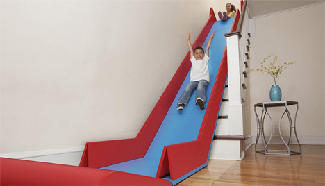 This Fold-Up Toy Turns Your Staircase Into an Indoor Slide