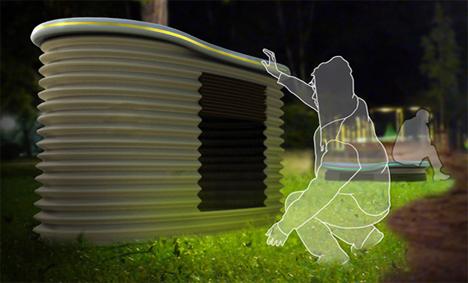 Urban Park Bench Transforms Into Temporary Homeless