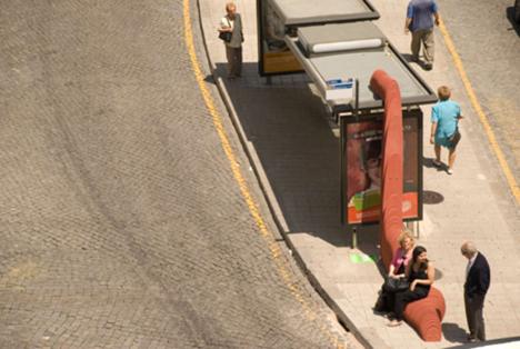 undulating bus stop sculpture