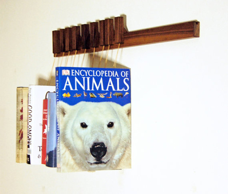 Hanging Book Rack books as art: wall storage suspends your book collection