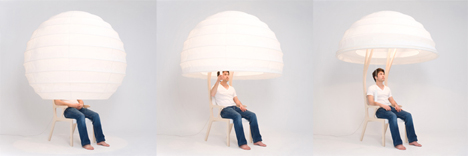 lampshade hiding chair