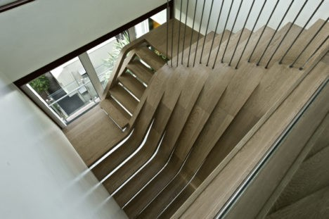 curved tread waterfall staircase