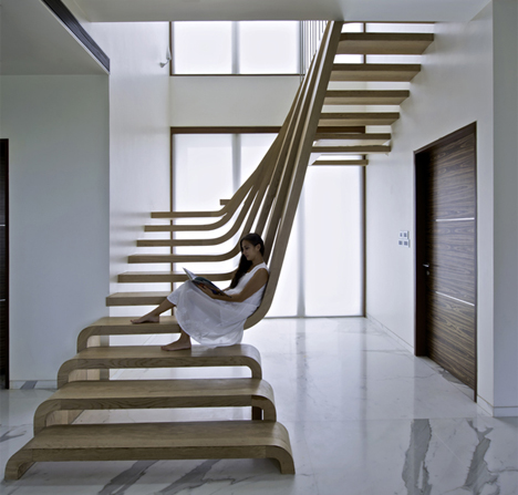 Curved Waterfall Wooden Staircase