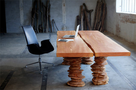 Office Desk Hovendal S Pieces Look Deceptively Fragile They Have The Earance Of Thin Stacked Discs Wood Criss Crossed With And Wrinkles